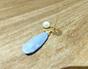 Personalized Initial necklace with Pearl monogram Initial necklace 14k gold filled Blue Gemstone Peruvian Blue Gemstone monogram jewelry