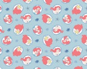 Disney Fabric Little Mermaid Fabric Coral Frame in Light Blue From Camelot 100% Premium Cotton