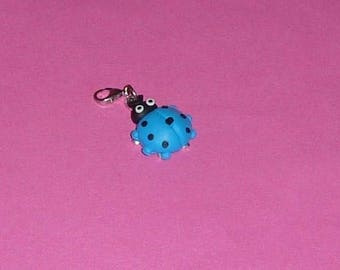 """1 """"Blue lady bug"""" polymer clay and metal 27mm Charms"""