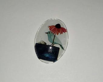 X 1 Blue Bird glass oval Cabochon