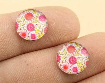 X 2 flower Cabochons 12mm pink