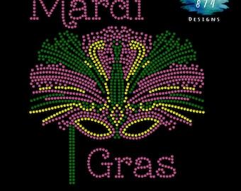 Mardi Gras - Mask Rhinestone Bling Iron-On Transfer - Applique -  GNO - Beads Anyone - Sassy