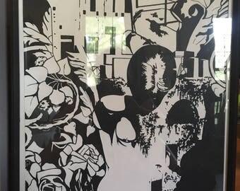 Original Black and White Framed Painting