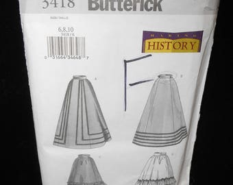 Misses Skirt Butterick 3418 Womens Skirt Historical Sizes 6 8 10