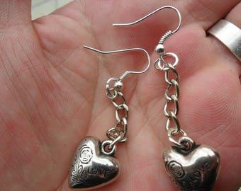 Love Heart Pendant earrings love token Birthday gift for a woman