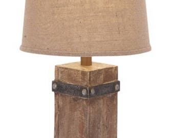 Rustic Style Table Lamp with Wooden Base and Round Burlap Cloth Shade