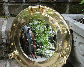 Solid Cast Brass Nautical PORT HOLE Mirror Ships Sea Sailing Porthole 11""