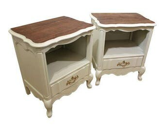 French Country Nightstands Wood-Top Painted End Tables-Pair