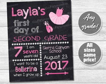 Ballerina First Day of Second Grade Sign, Back to School Chalkboard Sign, PRINTABLE First Day of School Sign Girl, Any Grade First Third