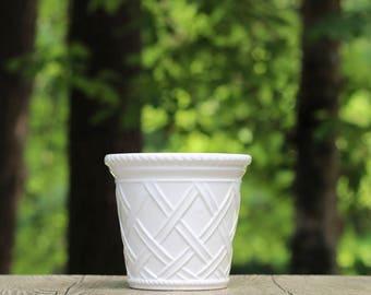 Vintage White Ceramic Latticework Planter / White Lattice Planter / Neuwirth Planter / White Ceramic Planter / White Basketweave Plantere
