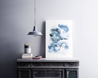 Contemporary Large Blue Painting. Large Blue Painting. Minimal Home Decor. Colorful Large Blue Painting.