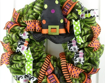 Witch Hat Legs Halloween wreath, Trick or Treat wreath; orange black lime green sparkly cute ribbon mesh door decor -