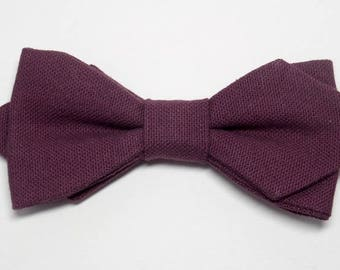 Bow tie eggplant, sewn by hand with sharp edges