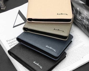 Men's Faux Leather Vegan Purse Wallet Credit Card Holder Slim Wallet Clutch Billfold - Different Colors - Free Shipping