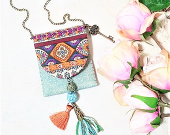 Boho Pouch Necklace. Earthy Tones Medicine Pouch. Bohemian Girl. Gypsy. Beaded  Tassel. Hippie Style. Blue Green Orange Textile Jewelry.