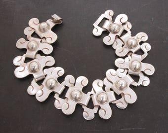 Pre-Eagle Mexican Sterling Bracelet, Vintage Mexico Silver Pre Eagle Bracelet, Early Mexico Silver Bracelet Interlocking Links Ethnic Design