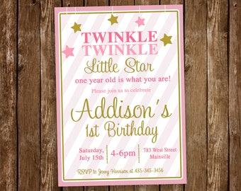 Twinkle Twinkle Little Star Invitation, Birthday, One Year, First Birthday, Star, Twinkle Star  - Printable or Printed
