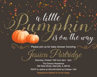 Pumpkin, Fall, Halloween, Baby Shower Invitation - Digital or Printed