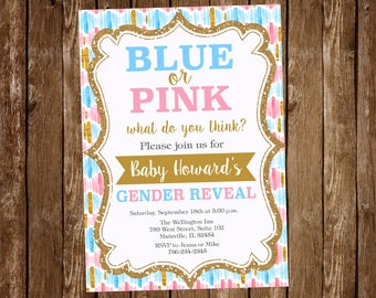 Gender Reveal Invitation, Blue or Pink, Gold, Baby, Party Baby Shower - Digital or Printed