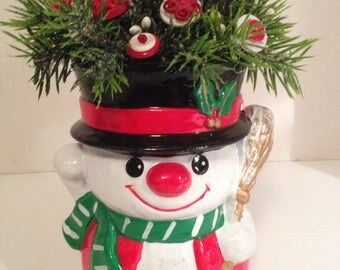 Vintage Christmas Button Bouquet/Snowma-Prim-Holiday Country Farmhouse Holiday Decor