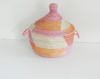 Small Basket in Pink and Orange,Congratulation Basket, Storage, Cesto, Korb, Panier africaine