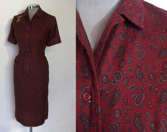 "Sassy secretary late 1950s print wiggle dress waist 24"" w/belt XS"