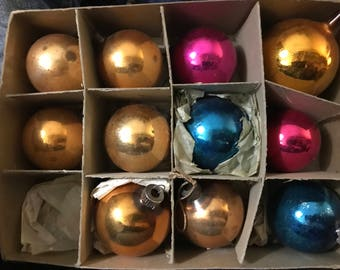 Vntg 11 SHINY BRITE Xmas Ornaments Original Box