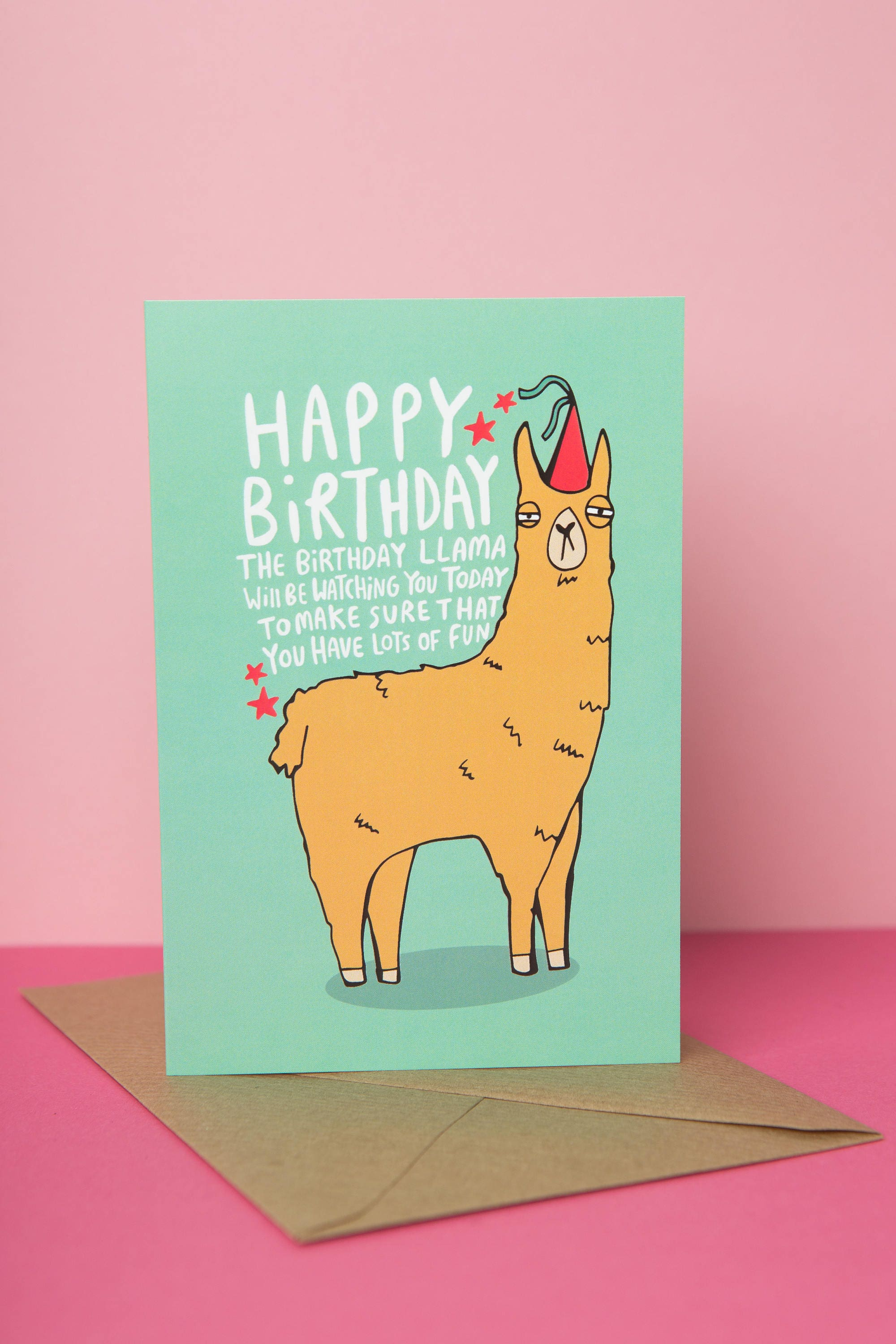 Birthday Llama Greeting card Designed and printed in the