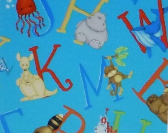 Summer Sale- ABC~123, Letters on Aqua~Cotton Fabric, Quilt,by Henry Glass, Fast Shipping CH210