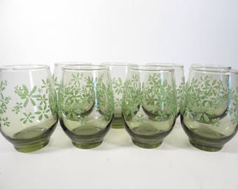 Set of 8 Avocado Green Daisy Tumblers by Libbey - 1960's Mint Bouquet Green Glass Tumblers