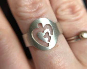 Mother and Child Sterling Silver Ring