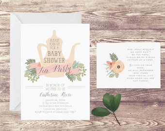 Tea Party Baby Shower Invitation with Book Insert Card, Floral Baby Shower Invite, Baby Sprinkle, Book Instead of Card Insert, Floral Tea