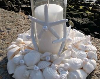 Beach Wedding Centerpiece - Beach Decor - White Shell Wreath With Candle (LSC011)
