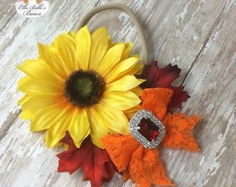 Sunflower Headband, autumn sunflower headband, fall floral headband, sunflower fields headband