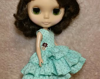 Blythe Doll Outfit DOT Print  Light Green Ruffles Dress