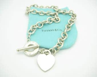 "Tiffany & Co. Sterling Silver Heart Tag Toggle Chain Link Necklace 16"" With Pouch"
