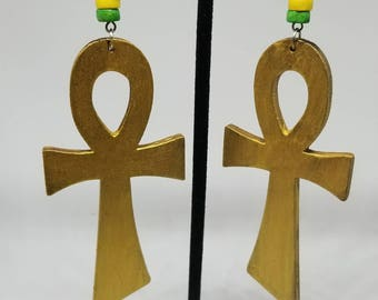Hand painted Ankh wooden earrings.