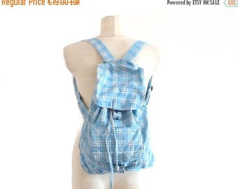 ON SALE 70s Vintage Backpack / Blue tartan backpack / Cotton bag