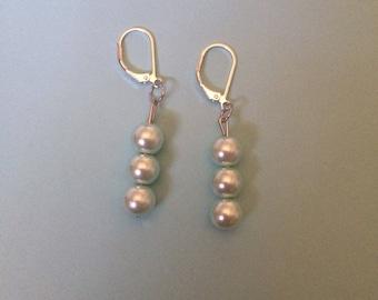 Light Teal Pearl Dangle Earrings
