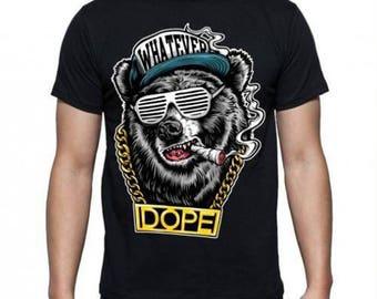 Mens  Hip Hop bear T-shirt -  black or white - 5 sizes available