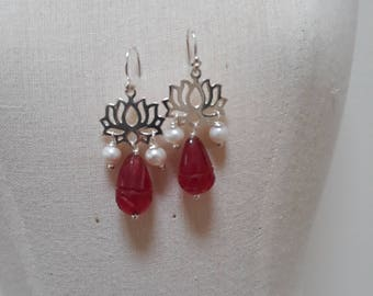 Sterling silver,Pearl and Quartz earrings.
