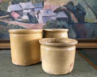 3 French Confit Mustard Jam Ceramic Pots
