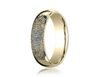FLASH SALE 10K Gold Custom Fingerprint Ring made with Your Print Men's or Women's Wedding Band or Promise Ring