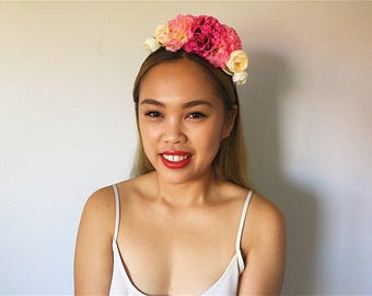 Beige X Pink 'DAWN' Dahlia and Rose floral headpiece/ headband
