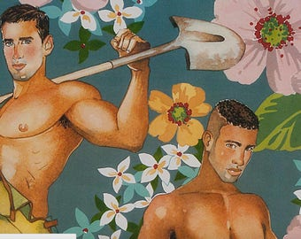 Plowing the Field - Gardeners, Farmboys, Hunks Pin Ups Alexander Henry Fabric in Slate