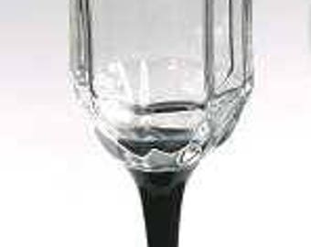 "Vintage 1980's Fluted Champagne Glass 8 5/8"" In Octime Black by Arcoroc  Made In France"