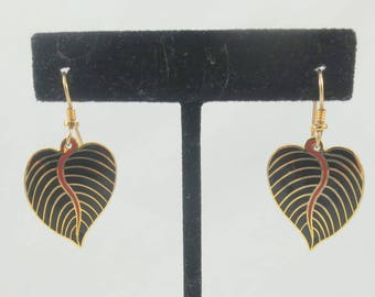 "Signed Laurel Burch ""Kalima"" Gold Tone Black Enamel Leaves Dangle Earrings"