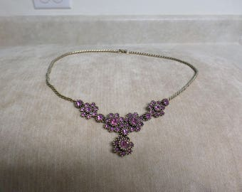 Vintage Necklace Pink Rhinestones Crystals on Gold Tone Chain