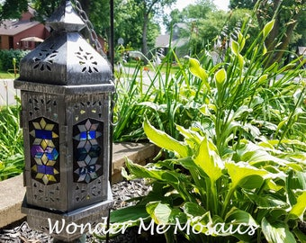 Stained Glass Mosaic Lantern - Vertical Blues