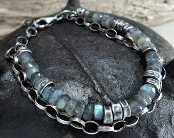 man labradorite bracelet, raw, boho, bohemian, raw labradorite bracelet, dark sterling silver bracelet